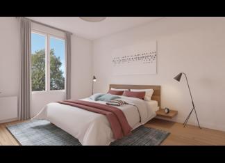 Chambre parentale d'un appartement neuf du 3 rue Jacques Decour à Suresnes par EMERIGE