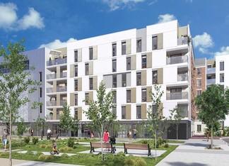 """Cœur d'îlot du programme immobilier """"Mail de l'Hôtel de Ville"""" d'Emerige à La Courneuve"""