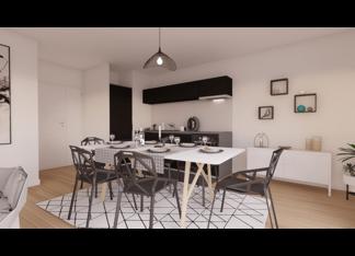 Cuisine d'un appartement neuf du 3 rue Jacques Decour à Suresnes par EMERIGE