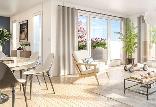 Séjour d'un appartement au 120 Danton à Levallois