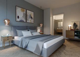 Chambre aux prestations haut de gamme d'un appartement neuf place Félix Eboué